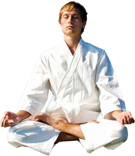 Martial Arts Lessons for Adults in Middle River MD - Young Man Thinking and Meditating in White