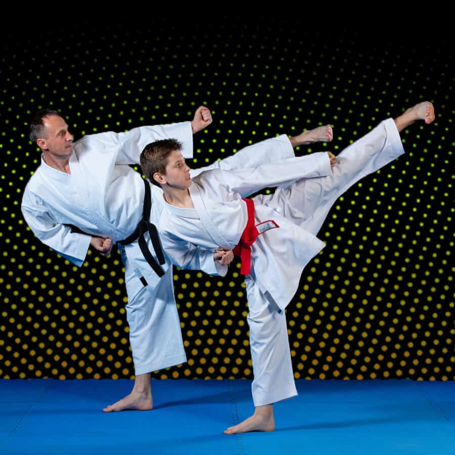 Martial Arts Lessons for Families in Middle River MD - Dad and Son High Kick