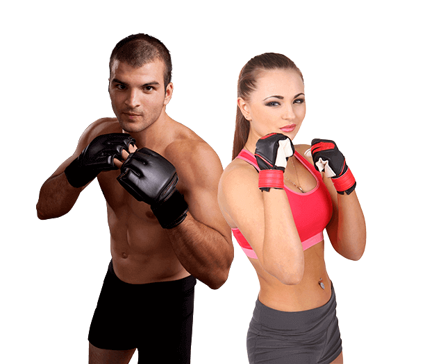 Mixed Martial Arts Lessons for Adults in Middle River MD - Hands up Fitness MMA Man and Woman Footer Banner