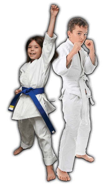 Martial Arts Lessons for Kids in Middle River MD - Happy Blue Belt Girl and Focused Boy Banner